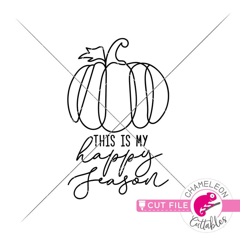 This is my happy season pumpkin line art svg png dxf eps jpeg SVG DXF PNG Cutting File