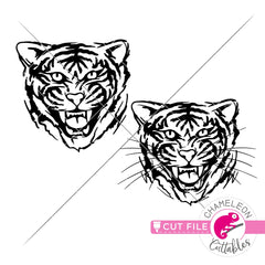 Tiger sketch drawing clipart svg png dxf eps jpeg SVG DXF PNG Cutting File