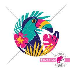 Toucan tropical leaf circle svg png dxf eps jpeg SVG DXF PNG Cutting File