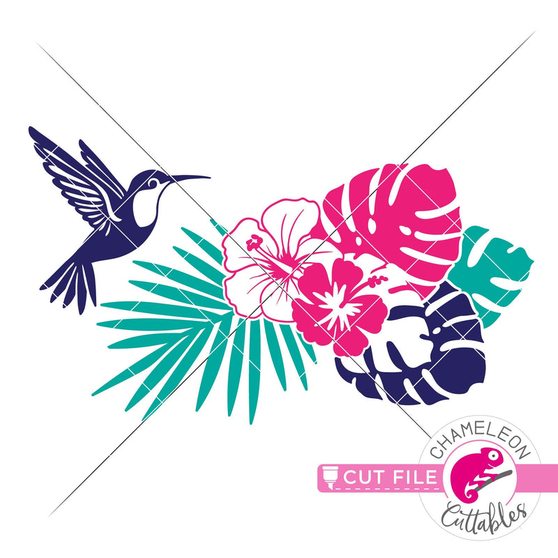 Tropical Scene with hummingbird and flowers horizontal svg png dxf eps jpeg SVG DXF PNG Cutting File