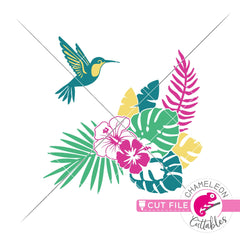 Tropical Scene with hummingbird and flowers svg png dxf eps jpeg SVG DXF PNG Cutting File