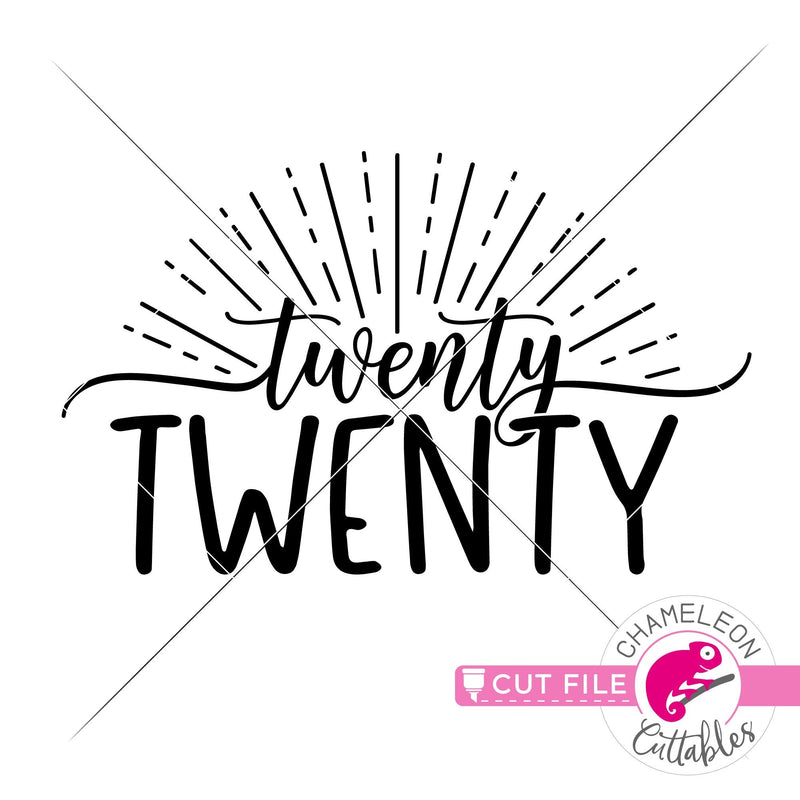 Twenty Twenty Rays New Years Eve svg png dxf eps jpeg SVG DXF PNG Cutting File