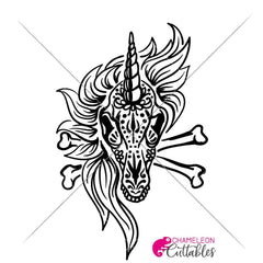 Unicorn Sugar Skull With Bones Svg Png Dxf Eps Svg Dxf Png Cutting File