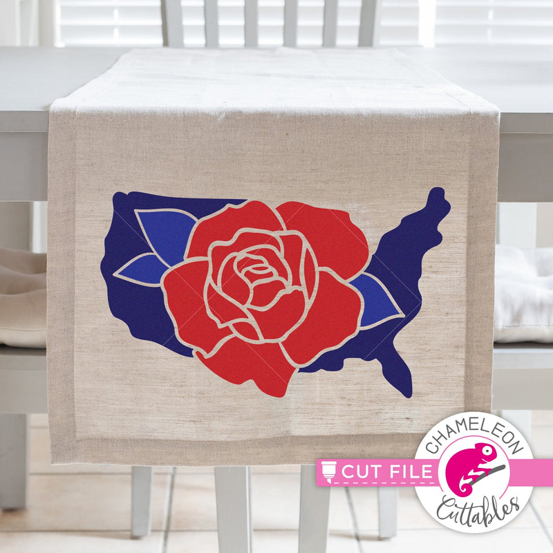 USA Flower Rose United States of America svg png dxf eps jpeg SVG DXF PNG Cutting File