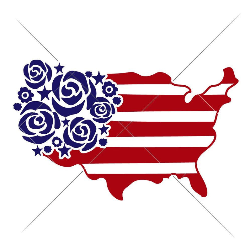 Usa Flowers And Stripes Svg Png Dxf Eps Svg Dxf Png Cutting File