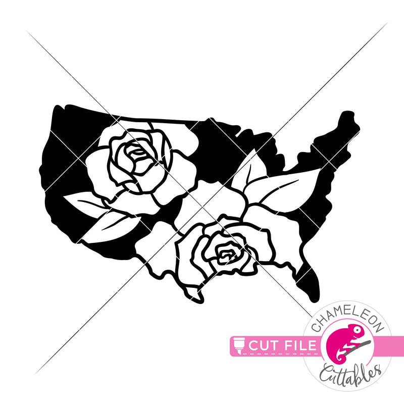 USA Flowers Rose United States of America svg png dxf eps jpeg SVG DXF PNG Cutting File