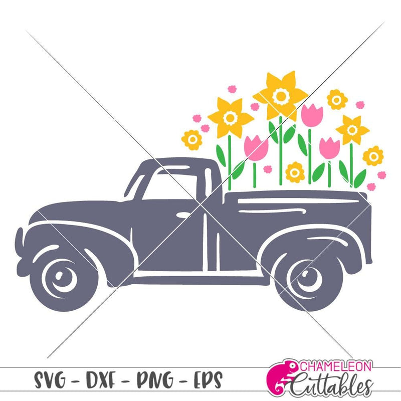 Vintage Truck With Flowers Svg Png Dxf Eps Svg Dxf Png Cutting File
