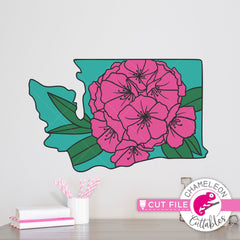 Washington state flower rhododendron layered svg png dxf eps jpeg SVG DXF PNG Cutting File