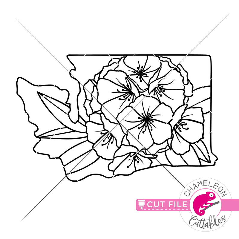 Washington state flower rhododendron outline svg png dxf eps jpeg SVG DXF PNG Cutting File