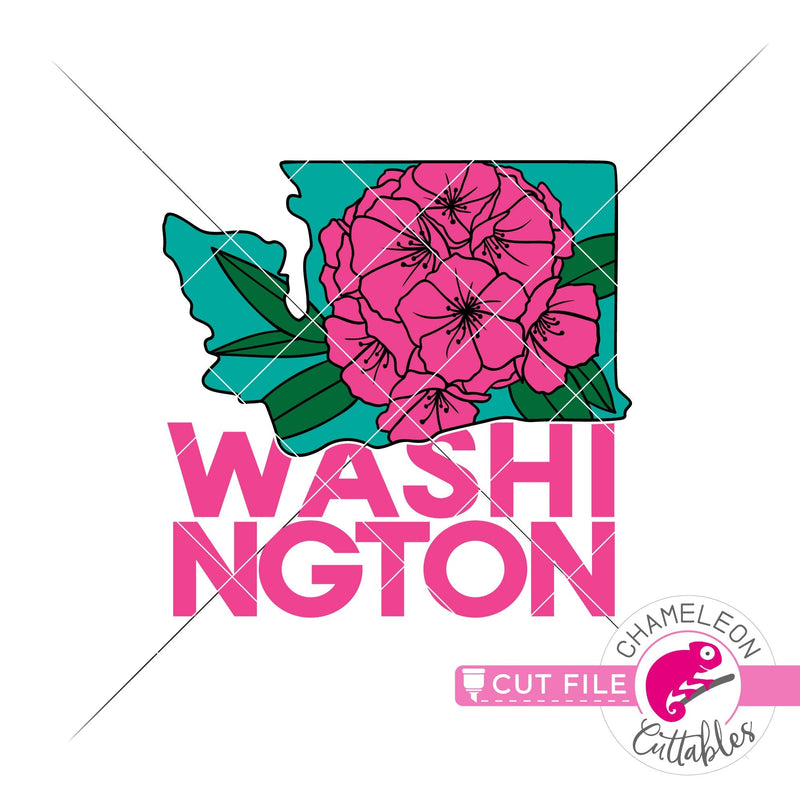 Washington state flower rhododendron square svg png dxf eps jpeg SVG DXF PNG Cutting File