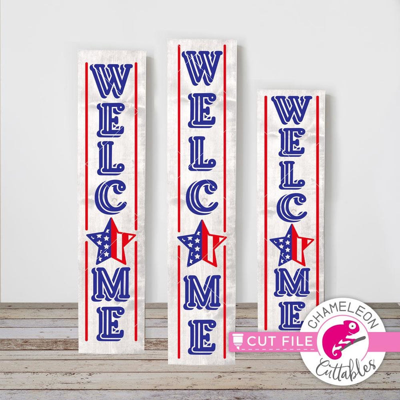 Welcome America USA 4th of July vertical svg png dxf SVG DXF PNG Cutting File