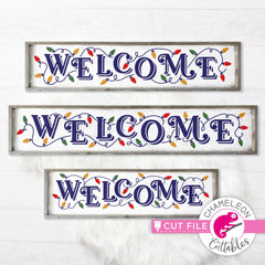 Welcome Christmas Lights horizontal svg png dxf SVG DXF PNG Cutting File