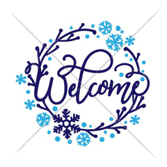 Welcome Snowflake Wreath Svg Png Dxf Eps Svg Dxf Png Cutting File