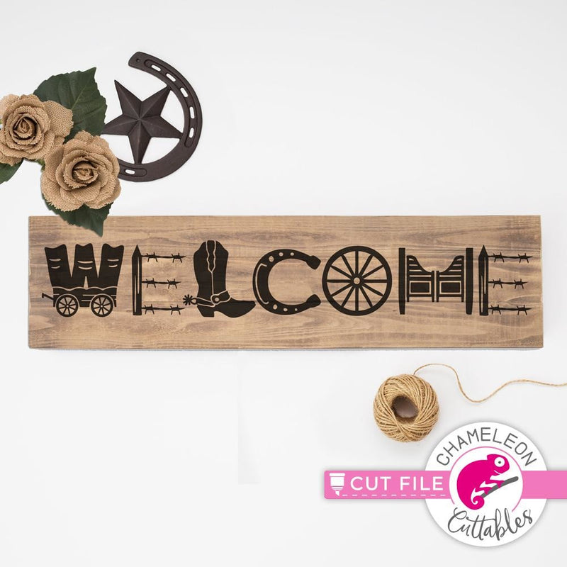 Welcome Western horizontal svg png dxf eps SVG DXF PNG Cutting File