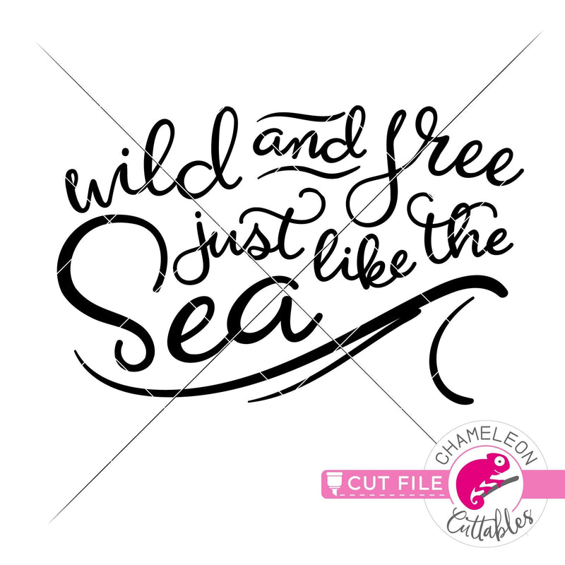 Wild and free just like the see horizontal wave svg png dxf eps jpeg SVG DXF PNG Cutting File