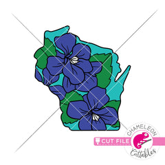 Wisconsin state flower blue violet layered svg png dxf eps jpeg SVG DXF PNG Cutting File