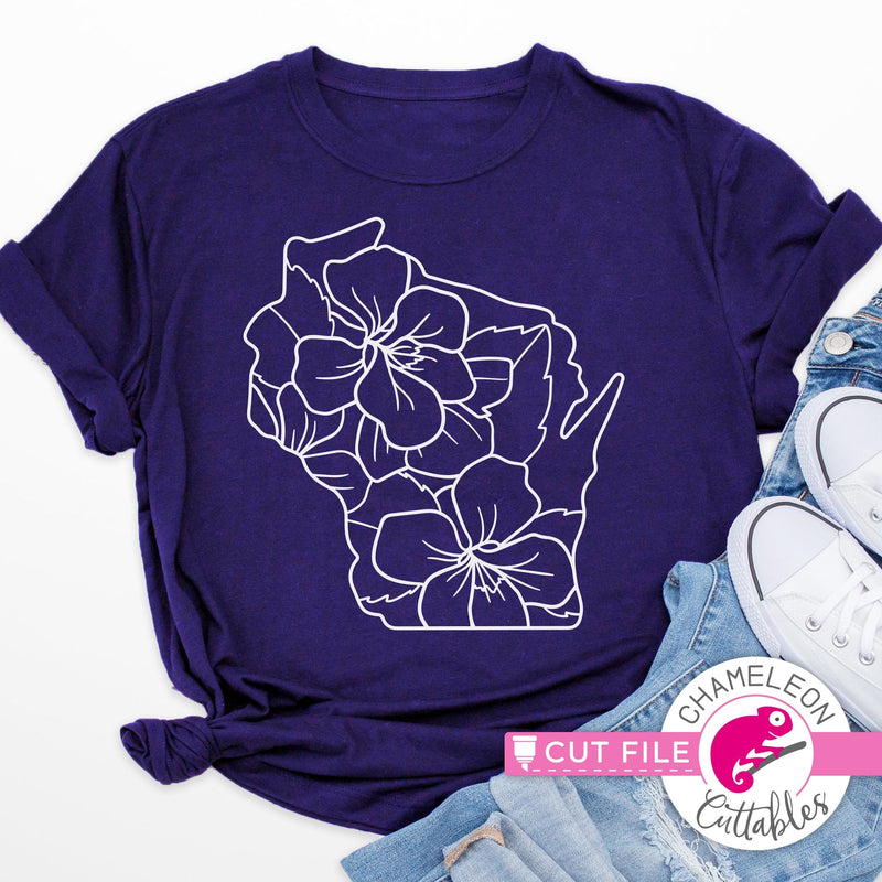 Wisconsin state flower blue violet outline svg png dxf eps jpeg SVG DXF PNG Cutting File