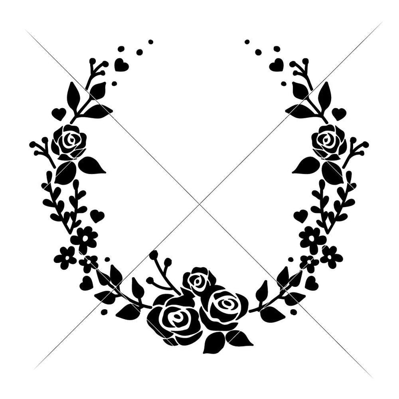 Wreath With Roses Open Svg Png Dxf Eps Svg Dxf Png Cutting File