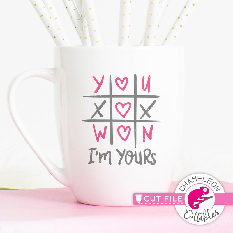 You won Im yours Tic Tac Toe Valentines day svg png dxf eps jpeg SVG DXF PNG Cutting File