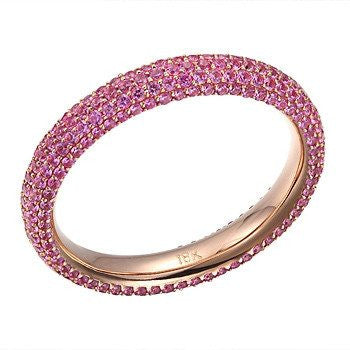 Pink sapphire rose gold eternity ring - Muscat Gems