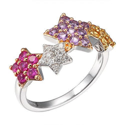 Pink, yellow sapphire, diamonds and amethyst gold star ring - Muscat Gems