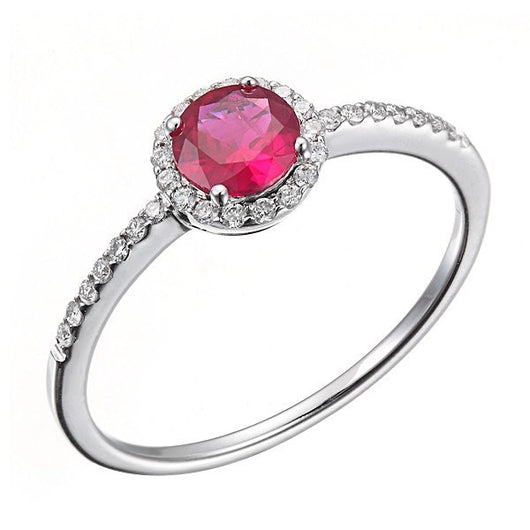 Ruby & diamond white gold classic ring - Muscat Gems