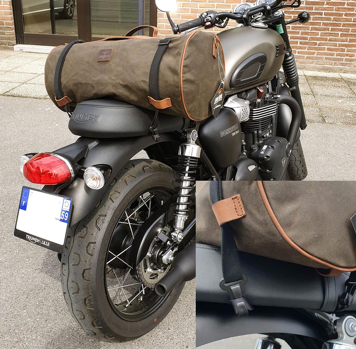 Installation sac de selle sur Bonneville.