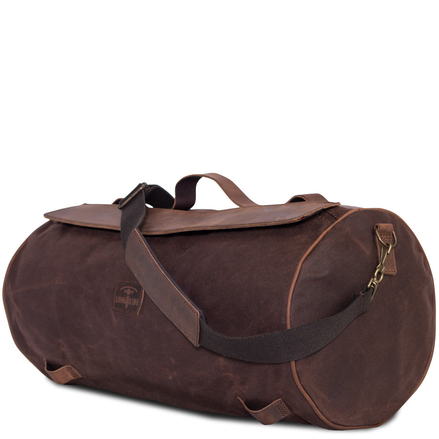 Grand Sac de Selle Moto Canvas Brun Imperméable et Cuir.