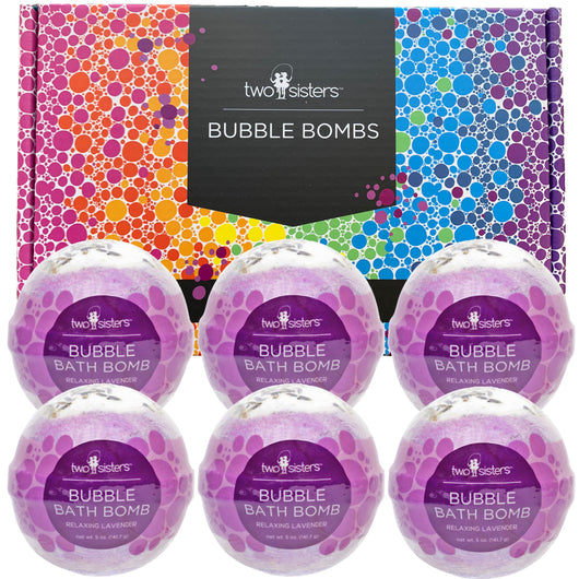 6 Relaxing Lavender Bubble Bath Bomb Set - Two Sisters Spa