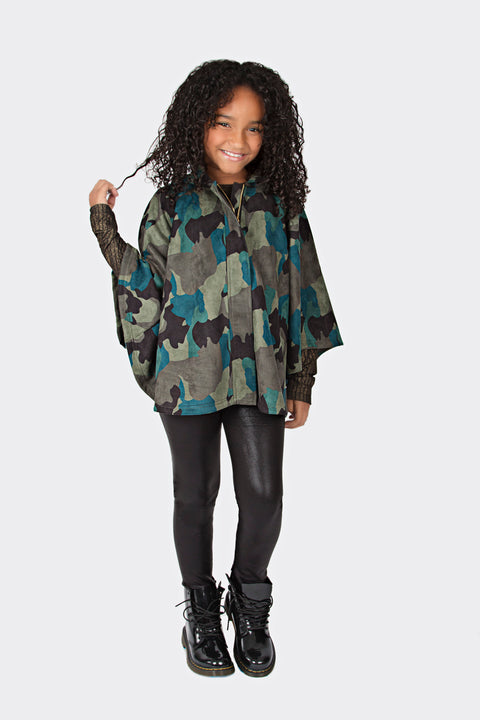 Camo Girls Poncho - Brass Pocket Boutique