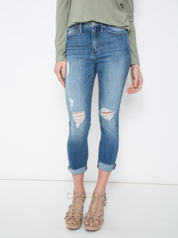 Kancan Faded Blue Cropped Denim Skinny Jeans - Brass Pocket Boutique