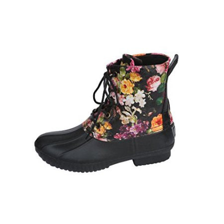 Floral Duck Boots- Girls - Brass Pocket Boutique