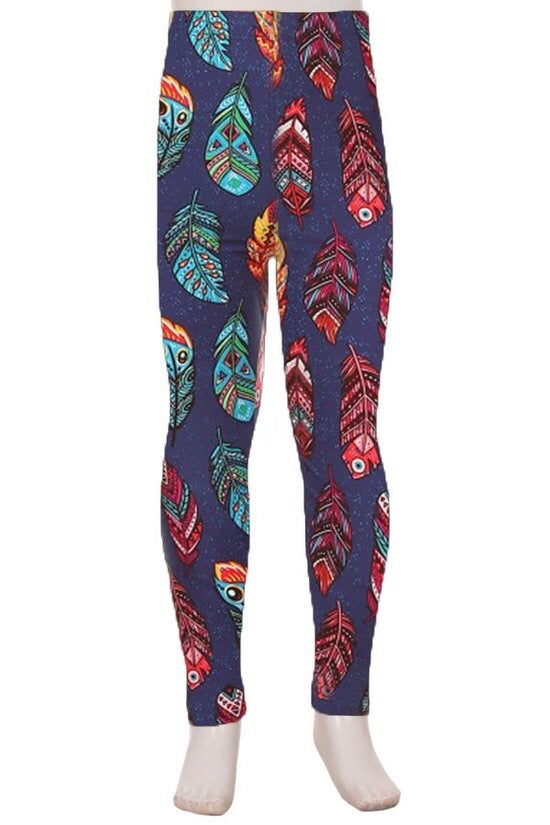 Multi-Color Feather Girls Leggings - Brass Pocket Boutique