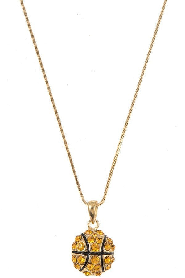 Rhinestone Basketball Necklace - Brass Pocket Boutique