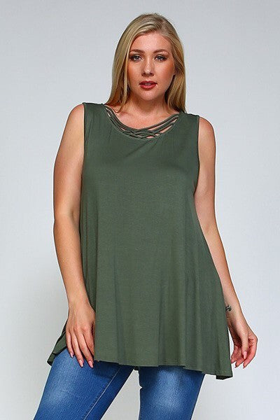 Olive Strappy Plus Size Sleeveless Tunic - Brass Pocket Boutique