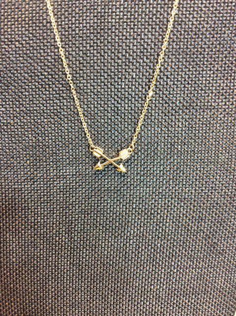 Cross Arrow Necklace - Brass Pocket Boutique