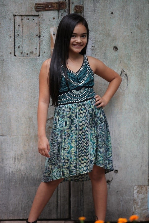 Girls Hi/Low Dress with Detail - Brass Pocket Boutique