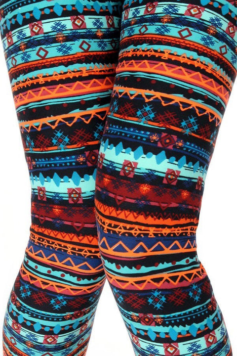 Teal & Orange Tribal Print Plus Leggings - Brass Pocket Boutique