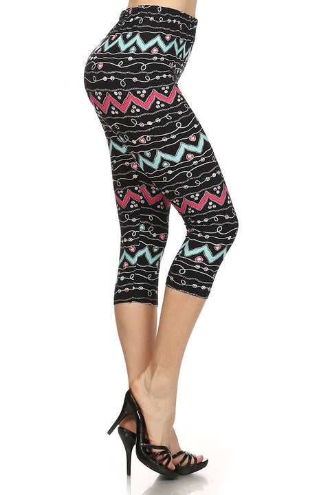 Zigzag Print Cropped Leggings - Brass Pocket Boutique