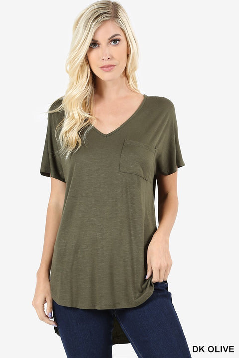 V-Neck Hi-Low Top - Brass Pocket Boutique