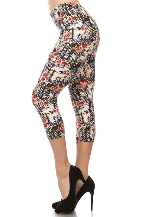 Multi-Color Abstract Print Cropped Length Leggings - Brass Pocket Boutique