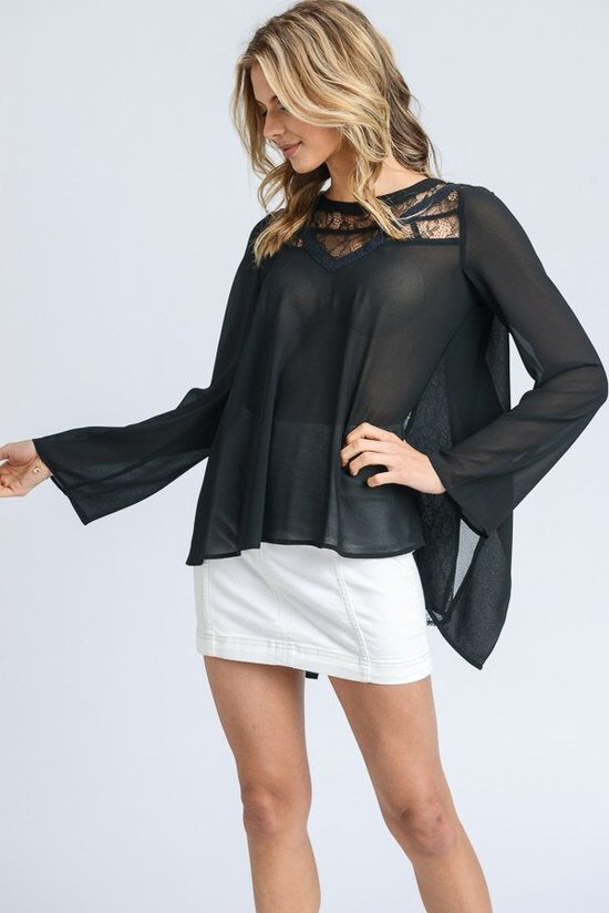 Long Sleeve Top with Lace Detail - Brass Pocket Boutique
