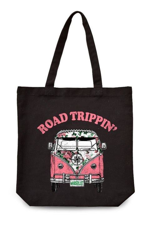 Road Trippin'  Canvas Tote - Brass Pocket Boutique