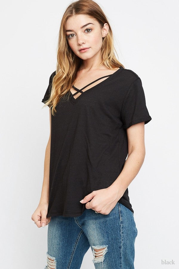 Criss Cross V-Neck Shirt - Brass Pocket Boutique