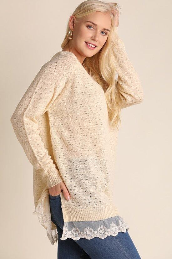 Light V-Neck Pullover with Lace Trim Plus Size - Brass Pocket Boutique