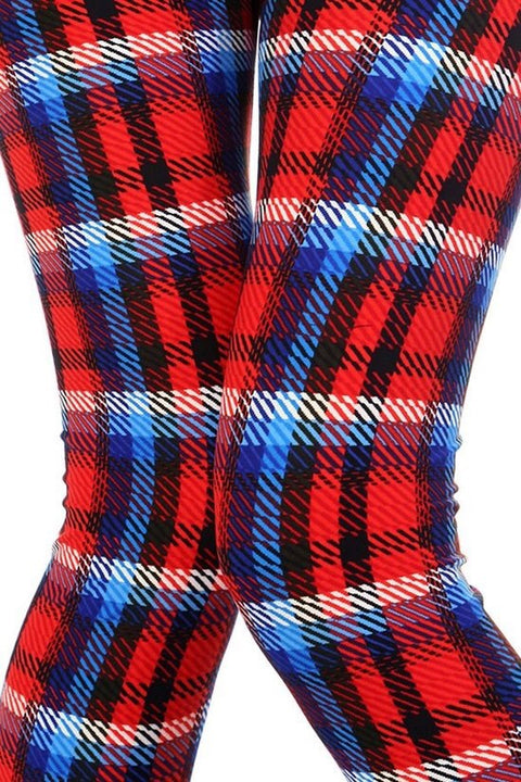 Red Plaid Print Leggings - Brass Pocket Boutique