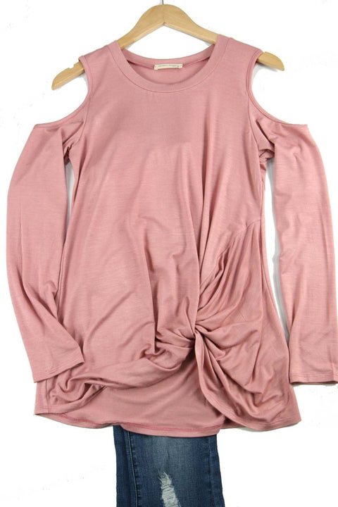 Cold Shoulder Plus Top with Front Knot - Brass Pocket Boutique
