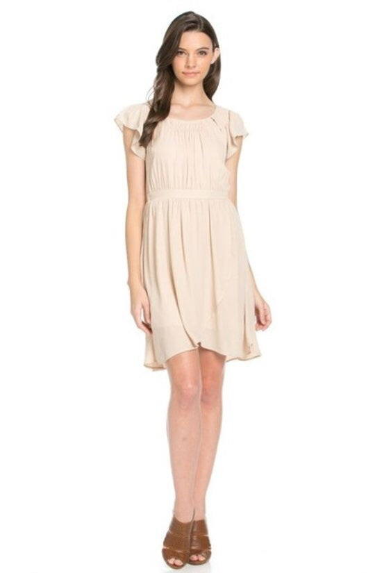 Taupe Baby Doll Dress - Brass Pocket Boutique