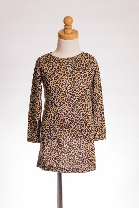 Long Sleeve Leopard Girls Dress - Brass Pocket Boutique