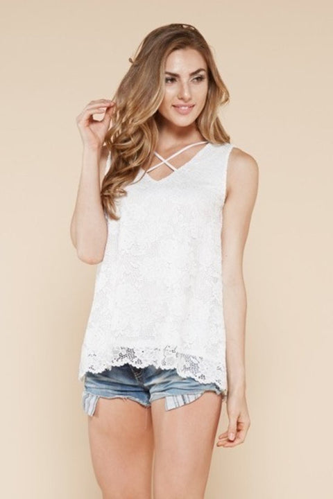 Criss Cross Sleeveless Lace Top - Brass Pocket Boutique
